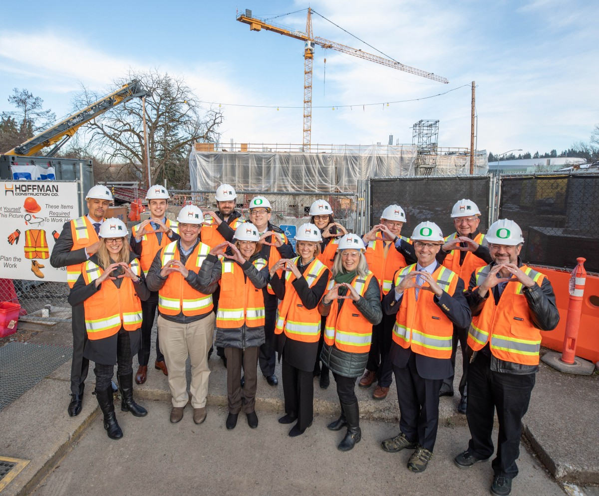 Knight Campus Trustees Throw Their O While Touring the Construction Site