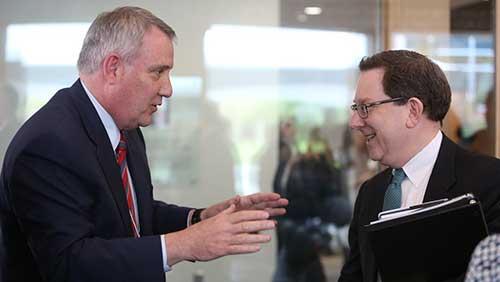 OHSU President Joe Robertson (left) and UO President Michael Schill