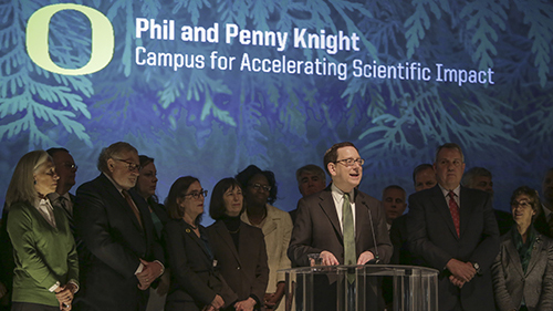 President Michael H. Schill at the announcement of the Phil and Penny Knight Campus for Accelerating Scientific Impact